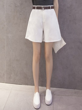 Plain High-Waist Loose Shorts