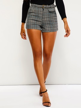Print Plaid Loose Straight Women's Shorts