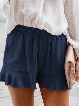 Plain Pleated High Waist Loose Women's Shorts