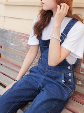 Vintage Blue High-Waist Jumpsuit