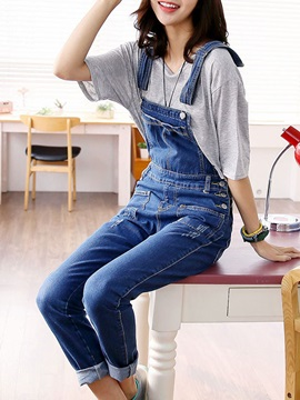 Pockets Solid Color Overalls