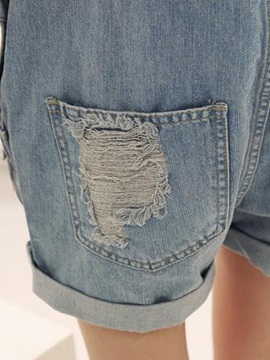 Delicate Cotton Denim Hole and Pocket Designed Overall