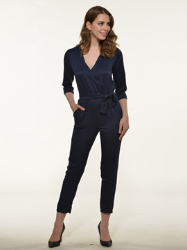 Stylish V-Neck Three-Quarter Sleeve Lace-Up Jumpsuit