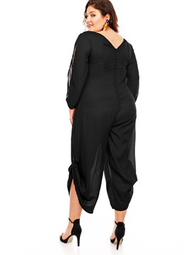 Plain Plus Size Off-Shoulder Loose-Fit Jumpsuit
