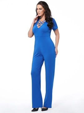 Sexy Solid Color V Neck Jumpsuit