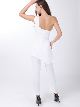 Plus Size One-Shoulder Ruffle Jumpsuit