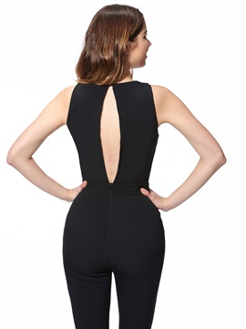 Simple Round-Neck Backless Jumpsuit
