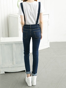 Simple Single-Breasted Adjustable Strap Denim Overall