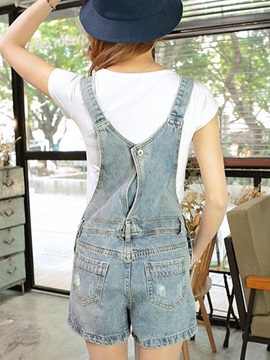 Casual Straight-Leg Hole Designed Overall