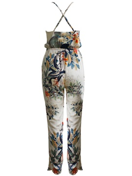 Stylish Floral Spaghetti Strap Plunging Neck Jumpsuit