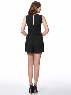 Delicate Backless See-Through Romper