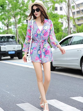 Stylish Floral Flare Sleeve Romper