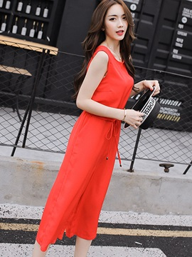 Pure Color Round-Neck Sleeveless Jumpsuit