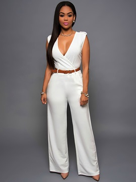 V-Neck Wide-Leg Sleeveless Jumpsuit