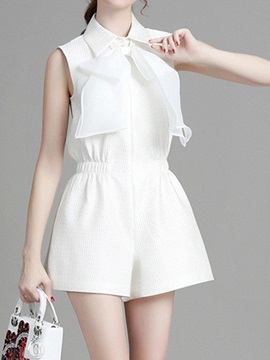 Stylish Lapel Collar Wide-Leg Romper