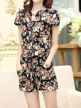 Simple Printing Button-Front Romper