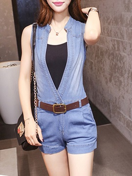 Stylish Plunging Neck Romper with Belt and Tank Top