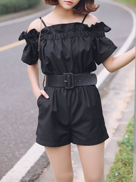 Vogue Slash Collar Belt-Tied Romper