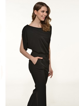 Simple Loose-Fit Batwing Sleeve Jumpsuit