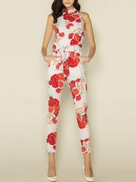 Stylish Floral Printing Belt-Tied Jumpsuit