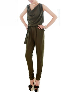 Simple Drape-Neck Lace-Up Jumpsuit