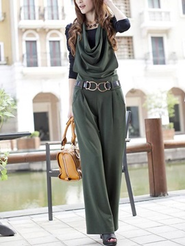 Solid Color Pleated Halter Casual Jumpsuit