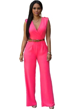 V-Neck Solid Color Jumpsuit