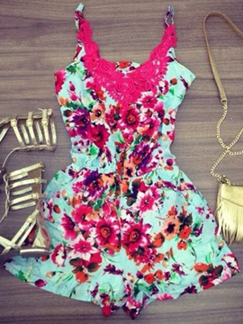 Lace Patchwork Gallus Floral Rompers