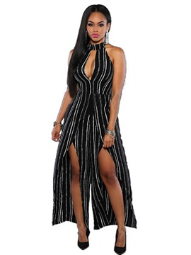Black And White Striped Printed Placketing Women's Jumpsuit