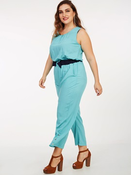 Solid Color Buckle Plus Size Jumpsuit