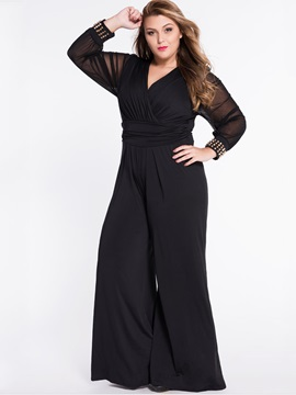 Black Chiffon Bead Plus Size Jumpsuit
