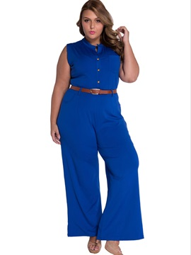 Solid Color Buckle With Belt Plus Size Jumpsuit