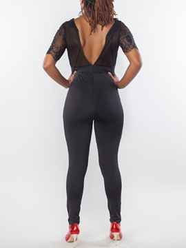 Black Mesh Patchwork V-Neck Jumpsuit