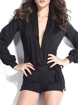 Black Pleated Deep V-Neck Rompers