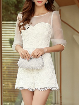 Solid Color Lace Mesh Patchwork Rompers