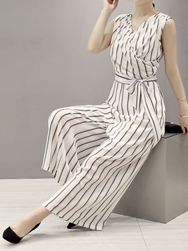 Striped Printed Bowknot V-Neck Jumpsuit