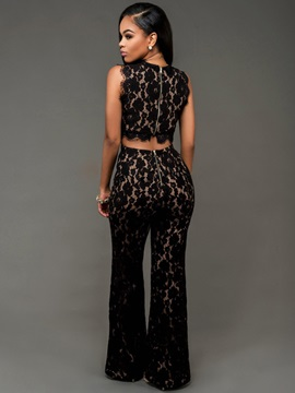 Black Hollow-Out Floral Lace Jumpsuit