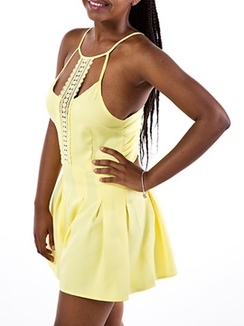 Solid Color Halter Hollow Pleated Rompers
