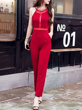 Solid Color Waist Short Sleeve Club Jumpsuits