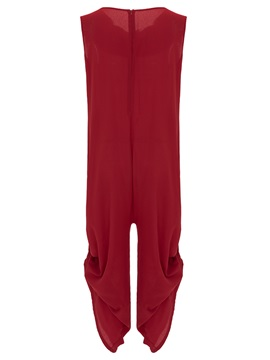 Solid Color Zipper Pleated Jumpsuit