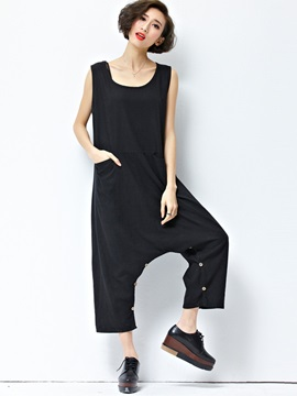 Black Buckle Dress Jumpsuit