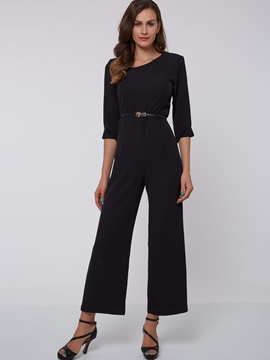 Solid Color Wear to Work Palazzo Jumpsuit