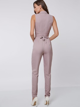 Pink Lapel Wear To Work Jumpsuit