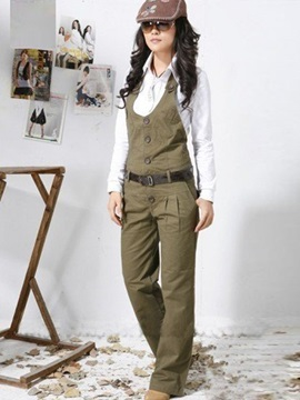 Halter Buckle Patchwork Casual Pants