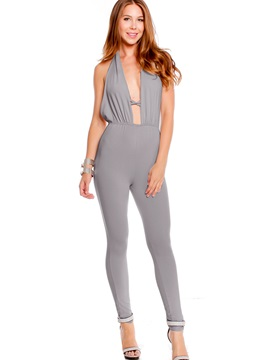 Gray Halter Backless Jumpsuit