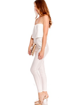 White Zipper Falbala Patchwork Jumpsuit