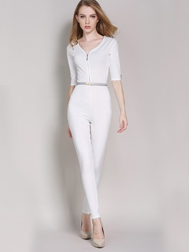 White Button Patchwork Slim Jumpsuit