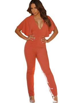 Solid Color V-Neck Bat Sleeve Jumpsuit