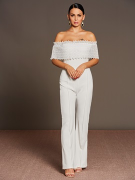 Boat Neck Lace Patchwork Strapless Jumsuit