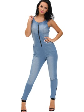 Denim Zipper Patchwork Gallus Jumpsuit
